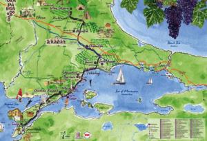 Carte de la route des vins en Tuquie,